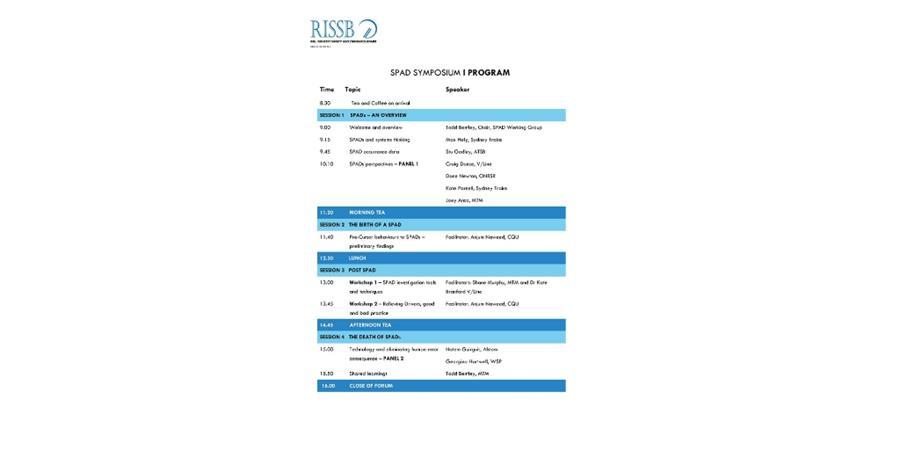 SPAD Symposium Agenda