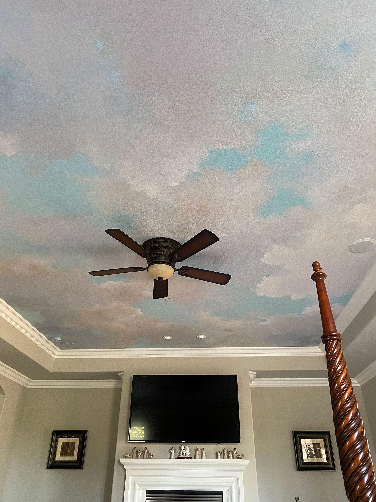 Soft Cloud Ceiling Mural with Sky Blue Accents