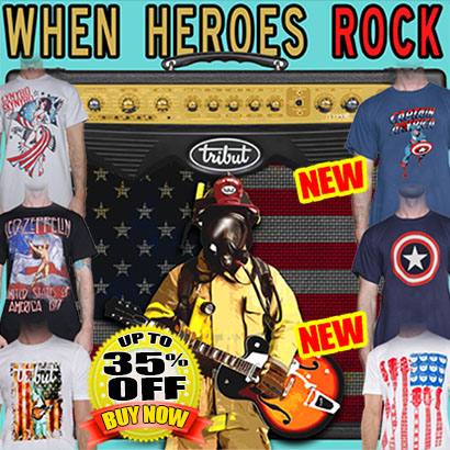 Tribut, when music really matters. When Heroes Rock. United we rock Collection. Led Zeppelin, Lynyrd Skynyrd, Bruce Springsteen, Captain America, Evel Knievel and more. 30% off. Plus Get A FREE TEE! Buy Now!
