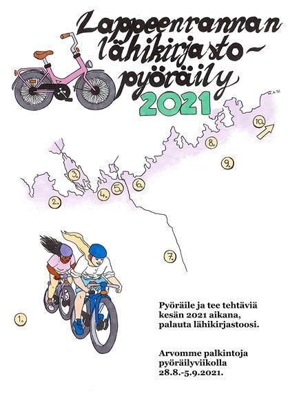 Kaksi ihmistä pyöräilee kartalla