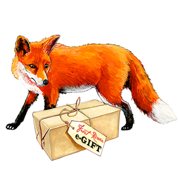 A fox with a box of Frost River e-gift certificates