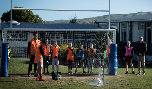 Pauatahanui school students undertake a test launch of their water rockets.