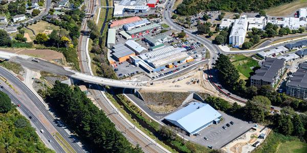 Aerial view over new Kenepuru interchange with road still under construction.