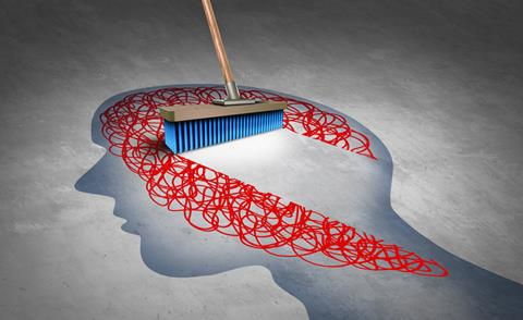 Image of broom sweeping away clutter in the mind